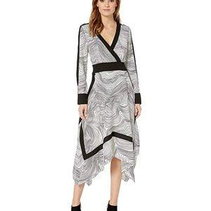 BCBGMAXAZRIA Faux Wrap Handkerchief Dress XXS